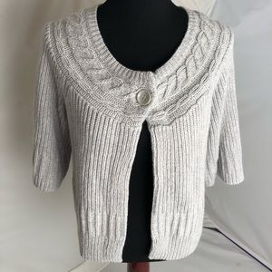 WHBM Gray/silver one button cardigan M